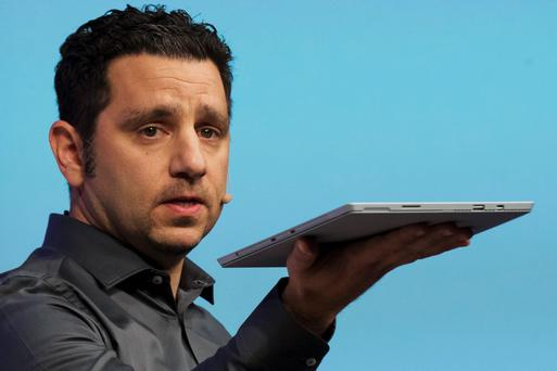 Panos Panay, Corperate vice president for Surface Computing at Microsoft Corp, unveils the latest models of the Surface tablet in New York May 20, 2014. REUTERS/Brendan McDermid (UNITED STATES)