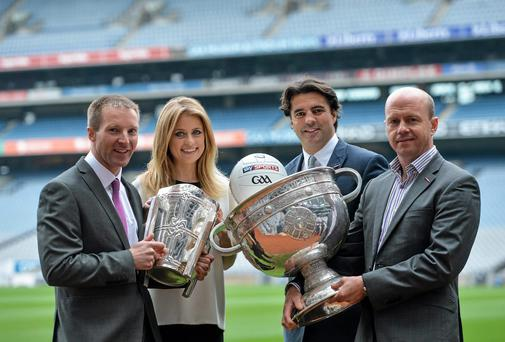 In attendance at the announcement of SKY SPORTS on-screen line-up for its GAA coverage are Presenters Rachel Wyse and Brian Carney, with Hurling analyst Jamesie OConnor and Football analyst Peter Canavan. Picture credit: Brendan Moran / SPORTSFILE