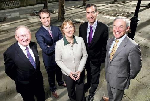 Paul Carty, Chairman NRPF, Jason Lettmann, Partner, LSV, Julie Sinnamon, CEO Enterprise Ireland, Mike Carusi, General Partner LSV and Richard Bruton, T.D. Minister for Jobs, Enterprise and Innovation