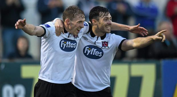 David McMillan, left, and team-mate Richie Towell, Dundalk, celebrate after he scored his side's seventh goal. SSE Airtricity League Premier Division, Dundalk v Drogheda United, Oriel Park, Dundalk, Co. Louth. Picture credit: Paul Mohan / SPORTSFILE