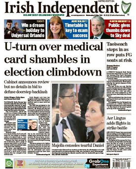 Today's front page of the Irish Independent.