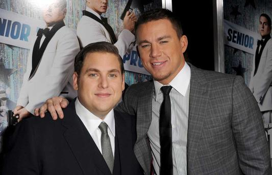 Jonah Hill (L) and Channing Tatum will be in Ireland on Friday
