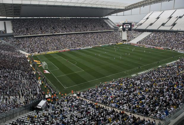 The Arena de Sao Paulo - which will host the World Cup's opening match between Brazil and Croatia - is still not ready and another test match must be played before it has FIFA's approval. Photo: NELSON ALMEIDA/AFP/Getty Images