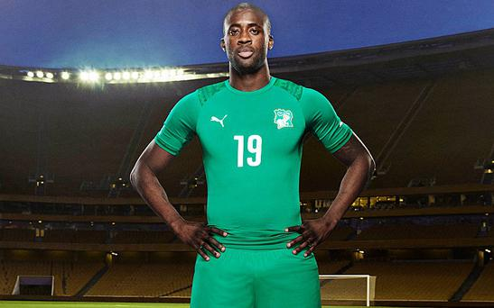 Yaya Toure in their strip for the World Cup