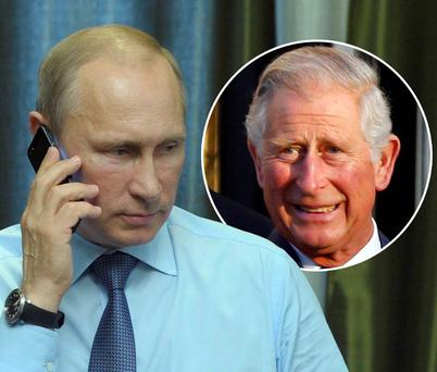 War of words: Russia's president Vladimir Putin and Prince Charles (inset)