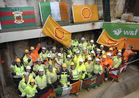 Shell's Irish and German tunnelling team celebrate the completion of 4.9km long Corrib Gas Pipeline Tunnel yesterday.