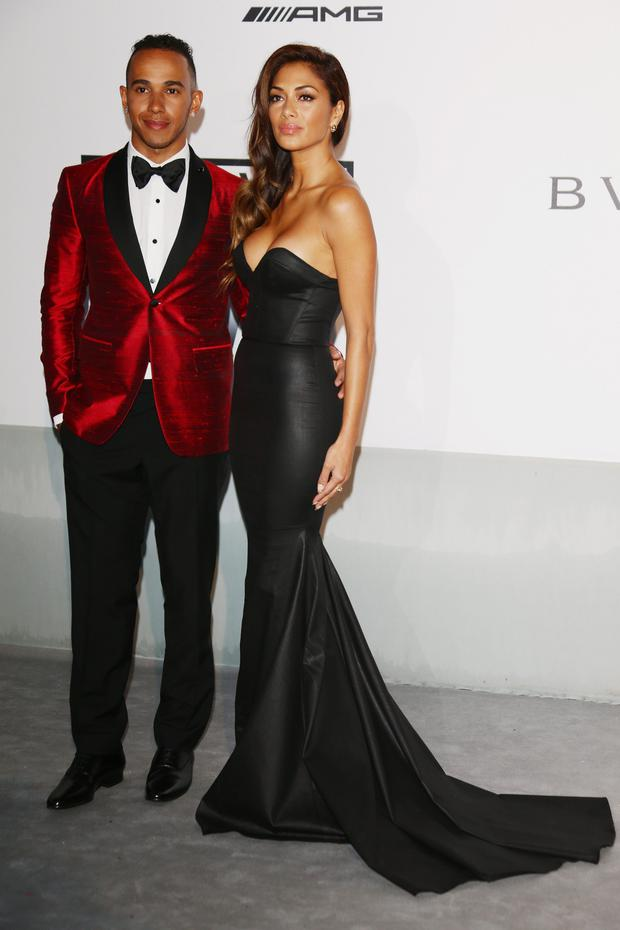 Lewis Hamilton and Nicole Scherzinger attend amfAR's 21st Cinema Against AIDS Gala