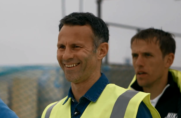Ryan Giggs on the roof of the yet to be completed Hotel Football in Manchester