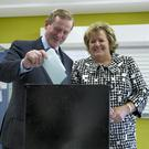 An Taoiseach Enda Kenny TD and his wife Fionnuala voting in the local and European election's at the polling station in St. Anthony's national school, Castlebar. Co. Mayo. Photo : Keith Heneghan