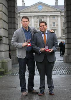 Channing Tatum & Jonah Hill after recieiving Bram Stoker medals from The Phil Society of Trinity College before doing a Q&A to promote their new movie '22 Jump Street' at The Screen Cinema, Dublin. Photo: Gareth Chaney Collins