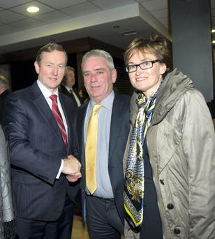 Cllr Eoin Bannigan with Taoiseach Enda Kenny and MEP Mairead McGuinness in March this year. Picture: Philip Fitzpatrick