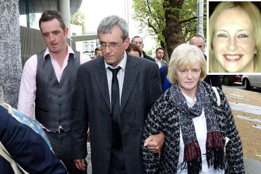Aoife Phelan's parents Michael, Betty leaving court with their son (left) Daire after Robert Corbet was found guilty of the murder of their daughter Aoife between 25 October and 7 November 2012. Pic: Courtpix
