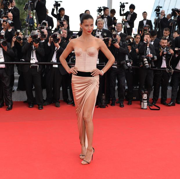 Brazilian model Adriana Lima arrives for the screening screening of the film 'The Homesman' at the 67th Cannes Film Festival in Cannes, France.