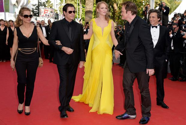 Kelly Peston, John Travolta, Uma Thurman, Quentin Tarantino and Lawrence Bender at Cannes