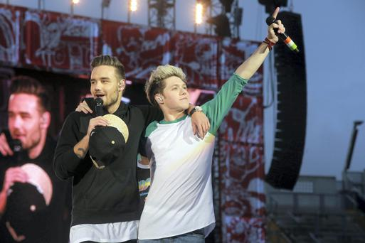 Liam Payne and Niall Horan of One Direction in concert at Croke Park, Dublin.. Picture:Arthur Carron