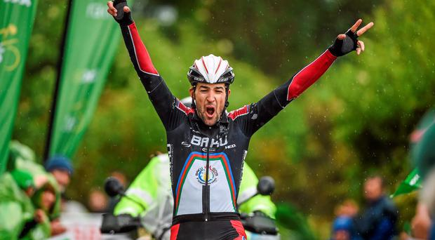 Markus Elbegger of Synergy Baku Cycling wins stage six of the An Post Rás on Seskin Hill, Carrick on Suir. Photo: Ramsey Cardy / SPORTSFILE