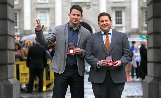 Channing Tatum & Jonah Hill after receiving Bram Stoker medals from The Phil Society of Trinity College