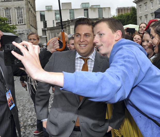 Jonah Hill poses for selfies in Ireland in 2014