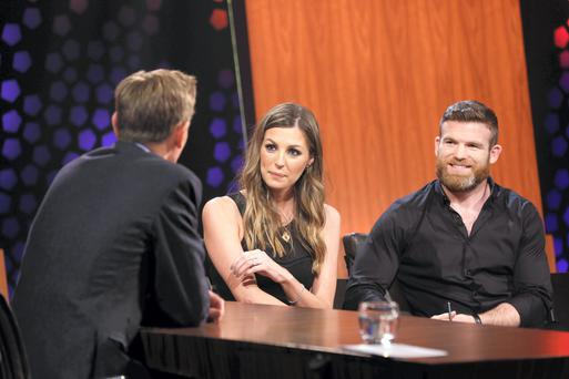 Rugby star Gordon D'Arcy and his wife model Aoife Cogan talk about marriage, rugby and setting up business together with Ryan Tubridy life on the RTE Late Late Show. Picture: Andres Poveda