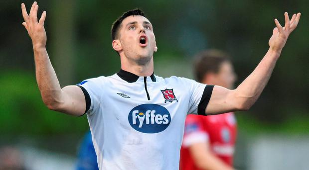 Patrick Hoban celebrates after scoring Dundalk's third goal at Oriel Park