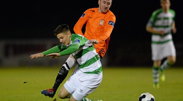 Sean Brennan, right, in action for Athlone Town