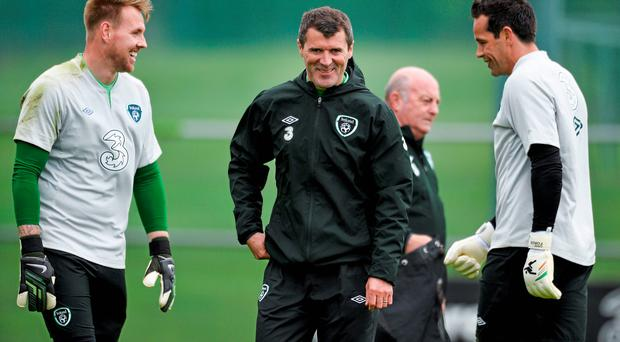 Ireland assistant manager Roy Keane with goalkeepers Rob Elliot, left, and David Forde, at squad training ahead of their 3 International Friendly against Turkey on Sunday
