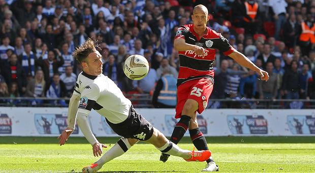 Queens Park Rangers' Bobby Zamora scores his side's winner in the last minute of normal time