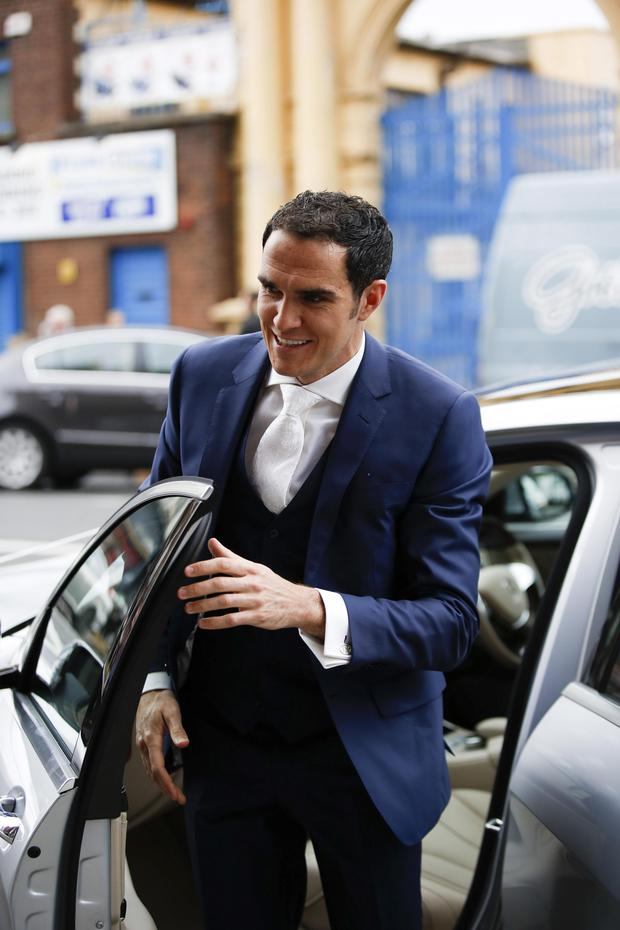 Joey O'Brien arrive at St Augustine's Church in Thomas Street in Dublin for his wedding to Joanne Martin. Picture: Conor McCabe Photography.
