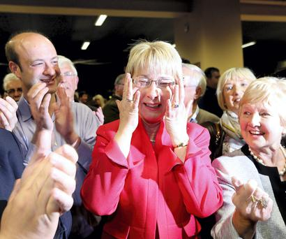 Mary Hanafin pictured afer her election at the count in City west. Picture; GERRY MOONEY. 24/5/14