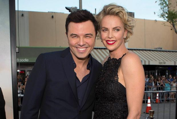 Seth MacFarlane and Charlize Theron at the premiere of