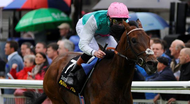 James Doyle riding Kingman win The Tattersalls Irish 2,000 Guineas at Curragh racecourse