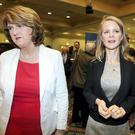 Joan Burton and Loraine Mulligan pictured at the count centre in City West. Picture; GERRY MOONEY.