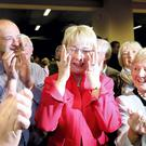 Mary Hanafin with her mother (right) after her election at the count in City West. Picture: GERRY MOONEY