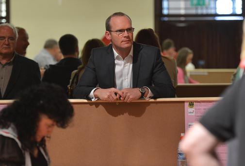 WATCHING: Agriculture Minister Simon Coveney at the count centre in Cork. Photo: Michael MacSweeney/Provision