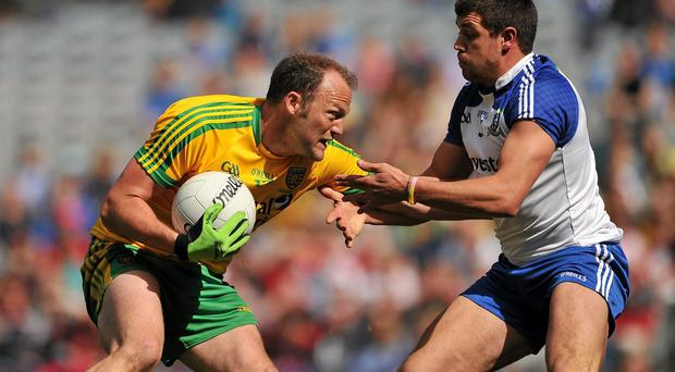 Colm McFadden, Donegal, in action against Drew Wylie, Monaghan. Allianz Football League Division 2 Final, Donegal v Monaghan, Croke Park, Dublin. Picture credit: Dire Brennan / SPORTSFILE
