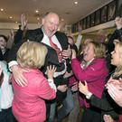 Independent candidate Michael Kilcoyne celebrates his election on the first count in Castlebar. Picture: Kyran O'Brien