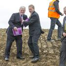 Taoiseach Enda Kenny and Tánaiste Eamon Gilmore who launched the Construction 2020 strategy for a renewed construction sector at the National Sports Campus, Abbotstown
