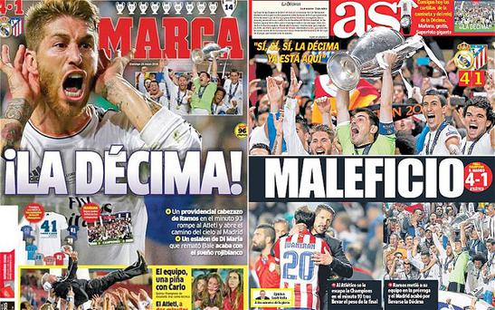 La Decima: Spanish press react to Real Madrid's Champions League win