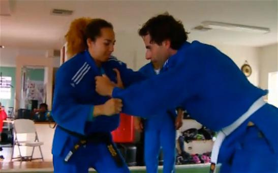 Mark Beaumont, the presenter, was being filmed grappling with judo champion Cynthia Rahming Photo: BBC