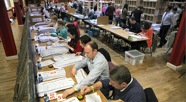 Counting of votes in the European election taking place in Castlebar, Co Mayo