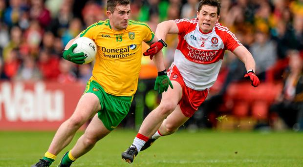 Patrick McBrearty, Donegal, in action against Dermot McBride