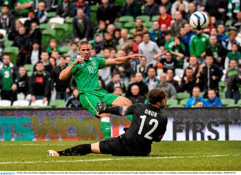 Jon Walters, Republic of Ireland, scores his side's only goal of the game past Turkey goalkeeper Onur Kivrak