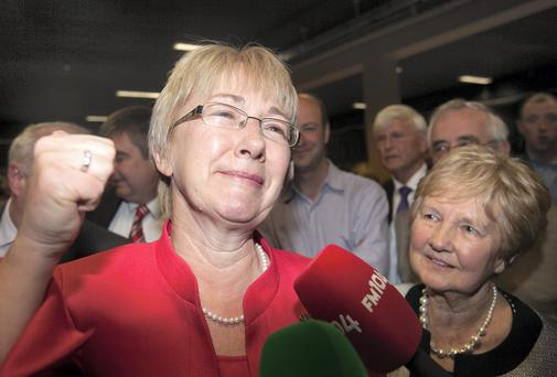 Fianna Fail candidate for Blackrock Mary Hanafin celebrates her win with her mother Mona Hanafin at the count in the City West Hotel, Dublin. Photo: Gareth Chaney Collins