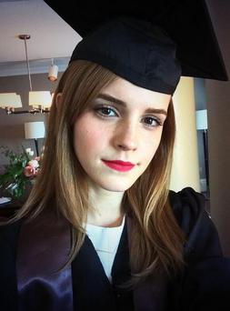 Emma shares her 'graduation selfie' with Twitter (Photo: Twitter/ Emma Watson)