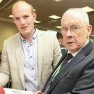 Former Meath footballer Joe Sheridan with Dan O'Connell, Fianna Fail director of elections for the area at the count centre in Navan. Picture: Tom Burke