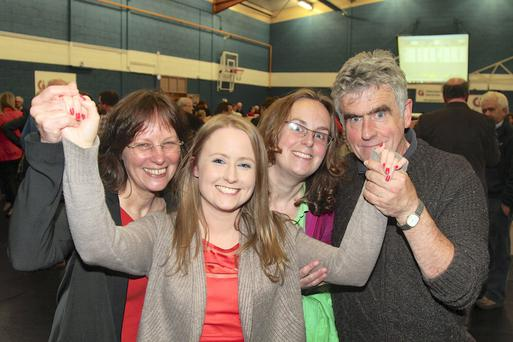 Sinn Fein's Mairead Farrell with her mother Jenny, sister Medb and father Niall after being elected to Galway City Council at the count in Westside Community Centre on Saturday. Photo: Andrew Downes