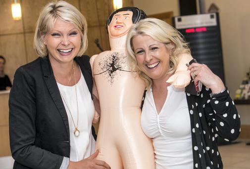 Aisling Nolan and Ann Broughan brought a blow-up doll to a hen party, but got caught up in the election in Kilkenny. Picture: PAT MOORE