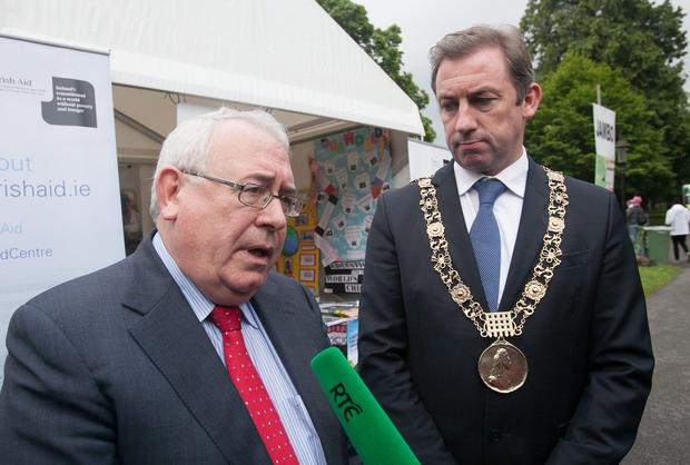 Minister of State Joe Costello and Lord Mayor of Dublin Oisin Quinn at the official opening of the 2014 Africa Day flagship event at Farmleigh in Dublin's Phoenix Park yesterday. Photo: Gareth Chaney Collins