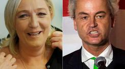Marine Le Pen, leader of France's National Front, and Geert Wilders, leader of Dutch Eurosceptic Freedom Party