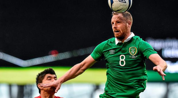 Ireland's David Meyler in action against Turkey's Ishak Dogan during yesterday's international friendly